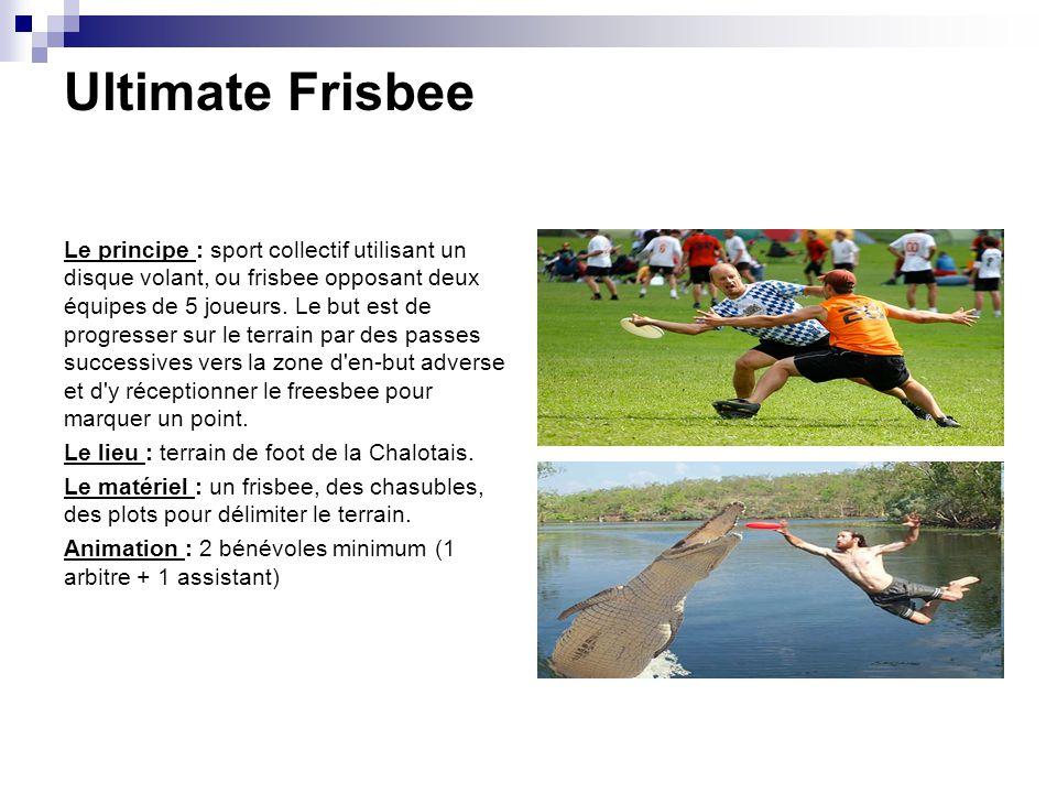 Ultimate Frisbee Le principe : sport collectif utilisant un disque volant, ou frisbee opposant deux équipes de 5 joueurs. Le but est de progresser sur