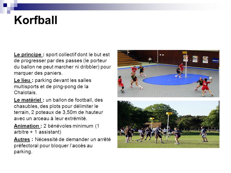 Korfball Le principe : sport collectif dont le but est de progresser par des passes (le porteur du ballon ne peut marcher ni dribbler) pour marquer de