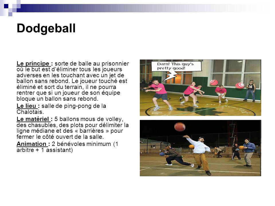 Dodgeball Le principe : sorte de balle au prisonnier où le but est déliminer tous les joueurs adverses en les touchant avec un jet de ballon sans rebo