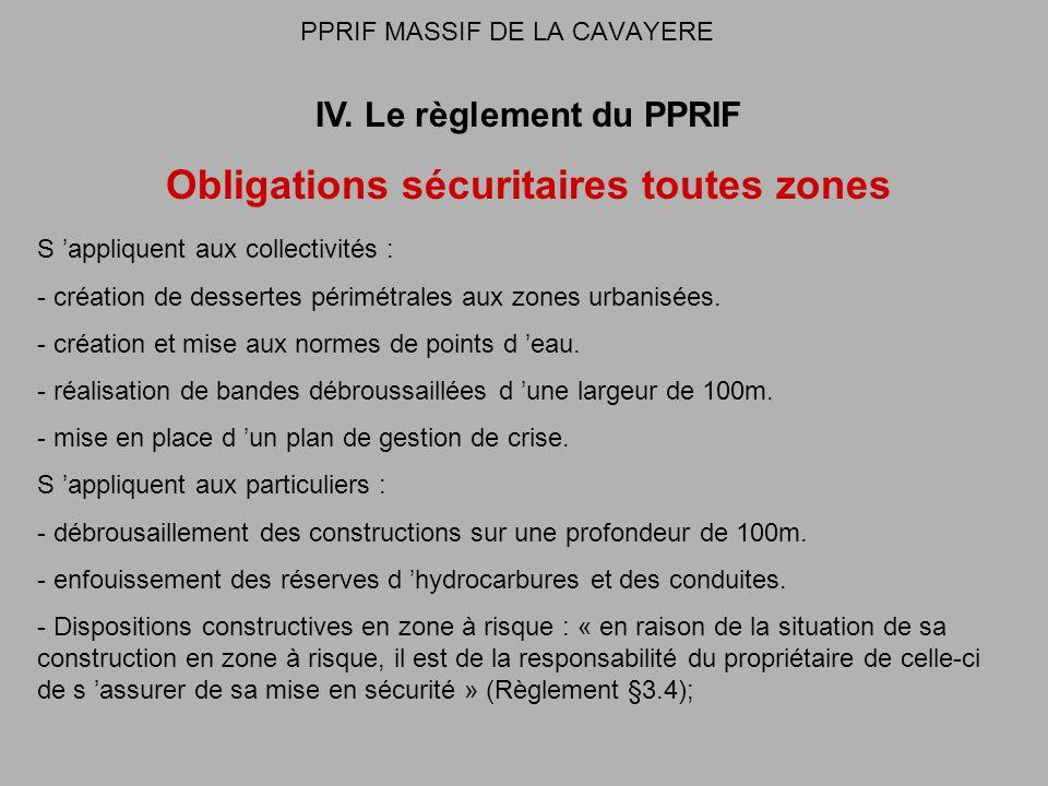 PPRIF MASSIF DE LA CAVAYERE IV. Le règlement du PPRIF Obligations sécuritaires toutes zones S appliquent aux collectivités : - création de dessertes p
