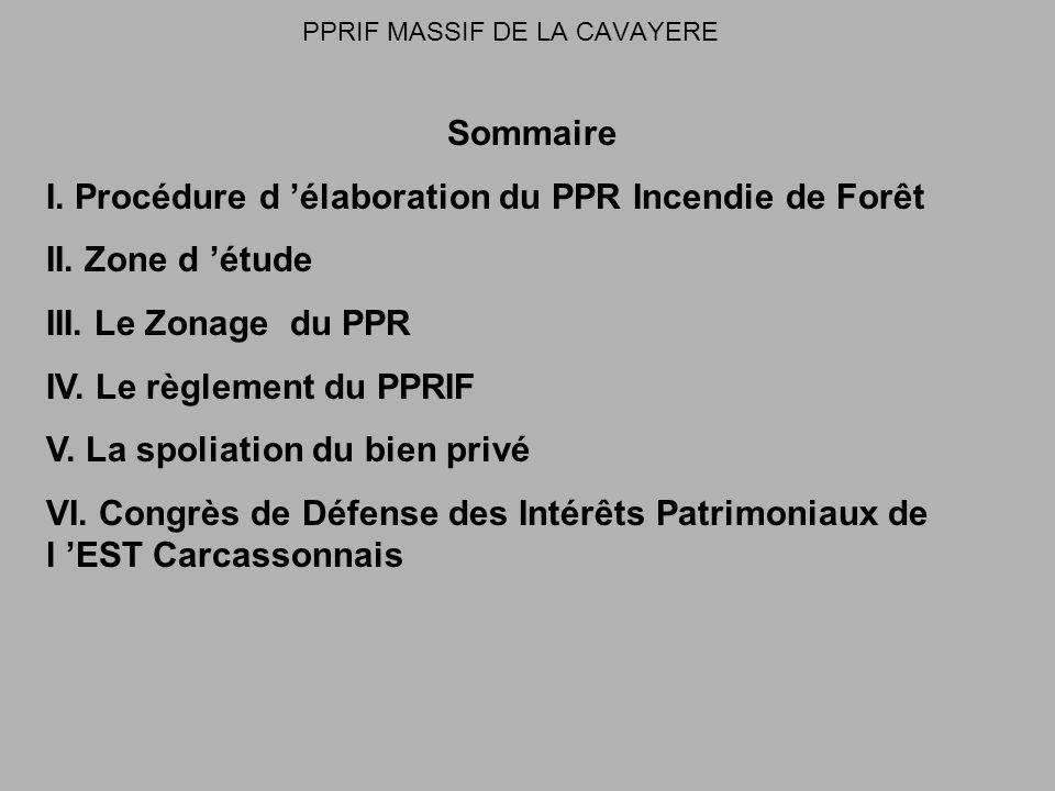 PPRIF MASSIF DE LA CAVAYERE Sommaire I. Procédure d élaboration du PPR Incendie de Forêt II.