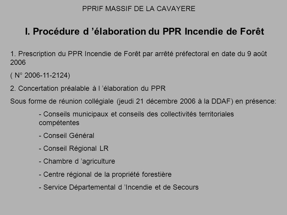 PPRIF MASSIF DE LA CAVAYERE I. Procédure d élaboration du PPR Incendie de Forêt 1.