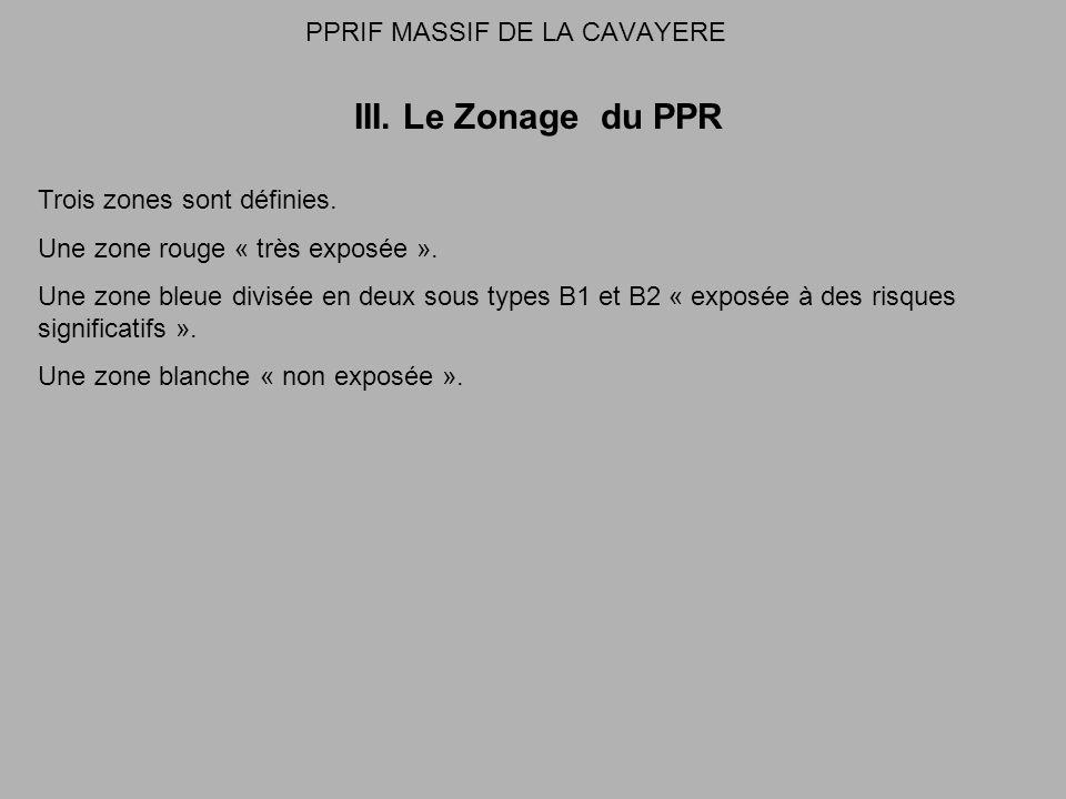 PPRIF MASSIF DE LA CAVAYERE III. Le Zonage du PPR Trois zones sont définies.