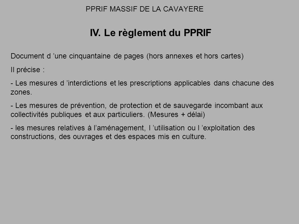 PPRIF MASSIF DE LA CAVAYERE IV. Le règlement du PPRIF Document d une cinquantaine de pages (hors annexes et hors cartes) Il précise : - Les mesures d