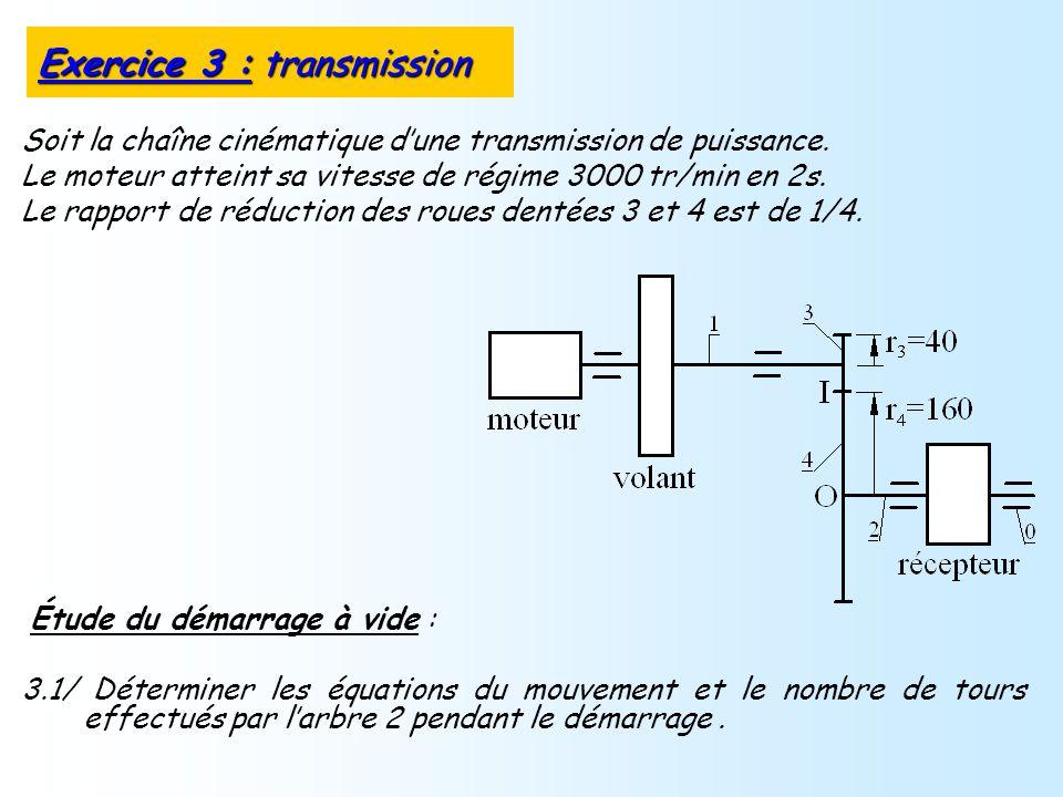 Étude du démarrage à vide : 3.1/ Déterminer les équations du mouvement et le nombre de tours effectués par larbre 2 pendant le démarrage. Exercice 3 :