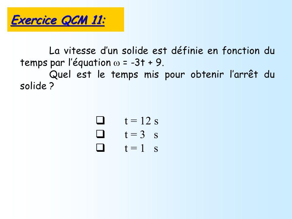 t = 12 s t = 3 s t = 1 s La vitesse dun solide est définie en fonction du temps par léquation = -3t + 9.
