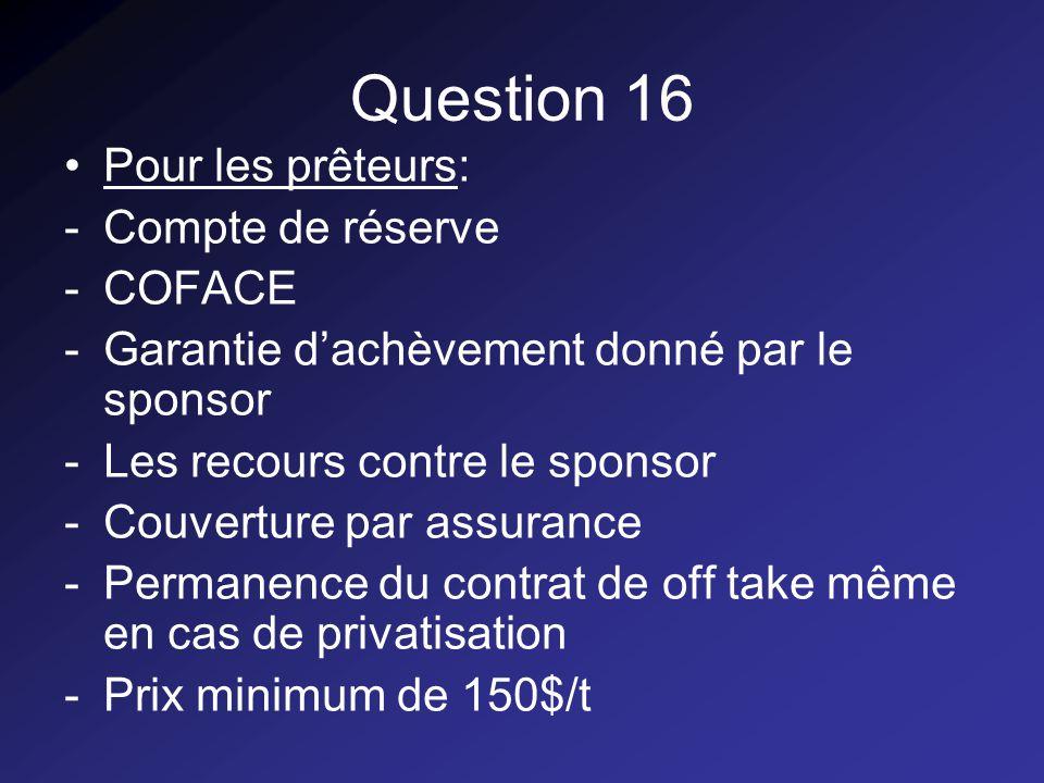 Question 16 Pour les prêteurs: -Compte de réserve -COFACE -Garantie dachèvement donné par le sponsor -Les recours contre le sponsor -Couverture par assurance -Permanence du contrat de off take même en cas de privatisation -Prix minimum de 150$/t