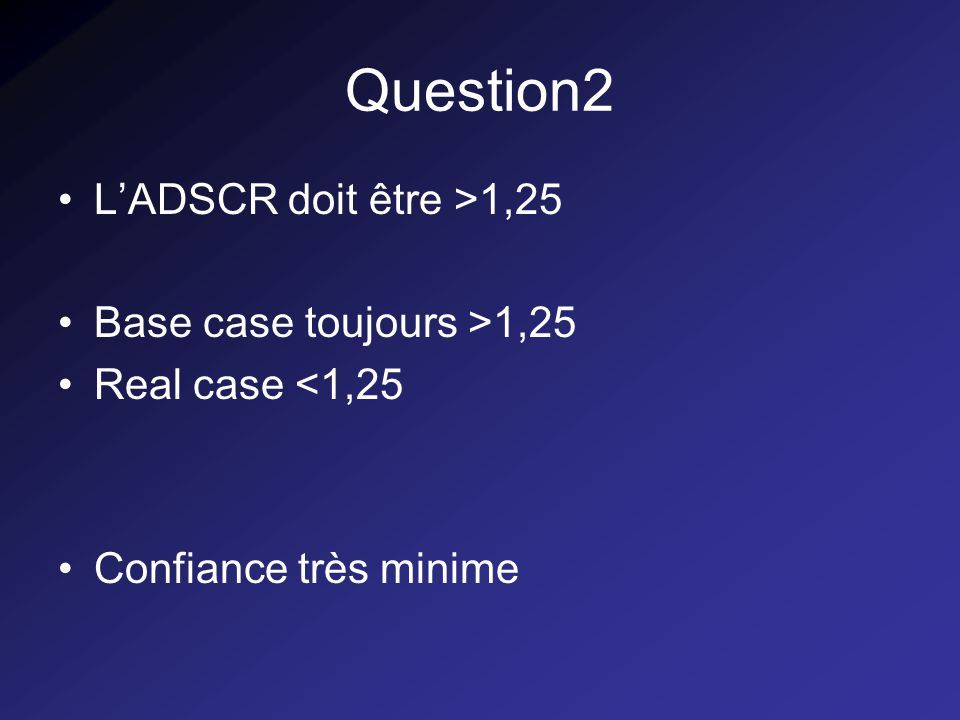 Question2 LADSCR doit être >1,25 Base case toujours >1,25 Real case <1,25 Confiance très minime