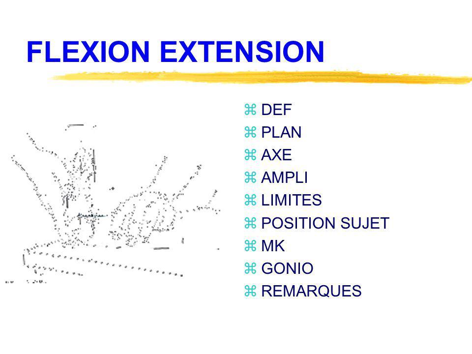 FLEXION EXTENSION zDEF zPLAN zAXE zAMPLI zLIMITES zPOSITION SUJET zMK zGONIO zREMARQUES