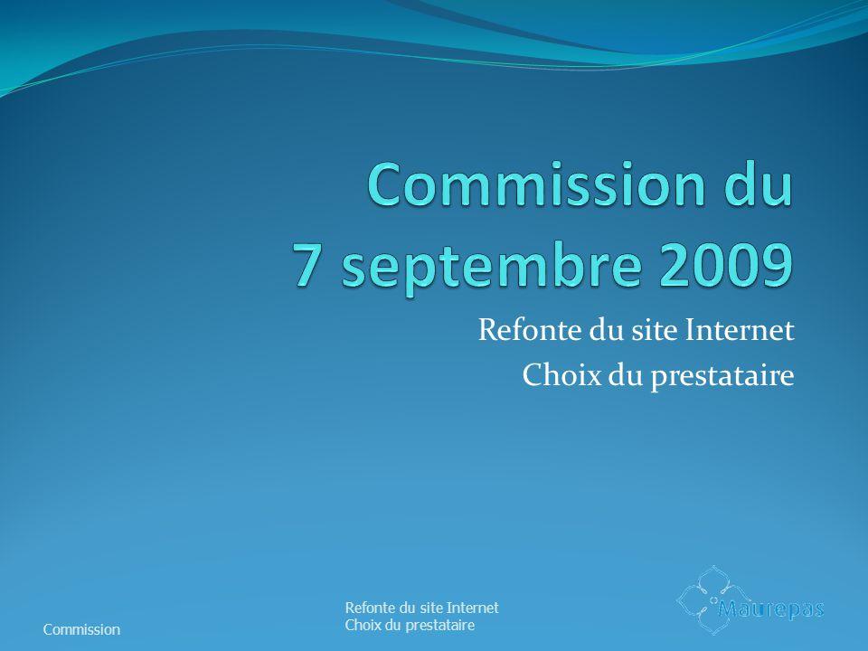 Refonte du site Internet Choix du prestataire Commission Refonte du site Internet Choix du prestataire