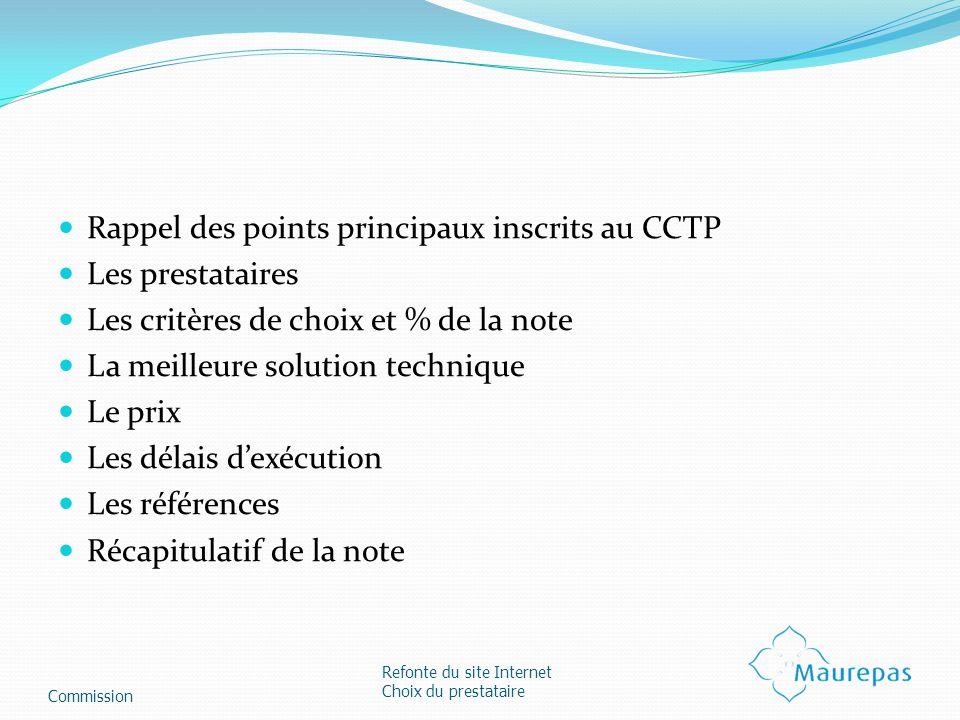 Rappel des points principaux inscrits au CCTP Les prestataires Les critères de choix et % de la note La meilleure solution technique Le prix Les délai