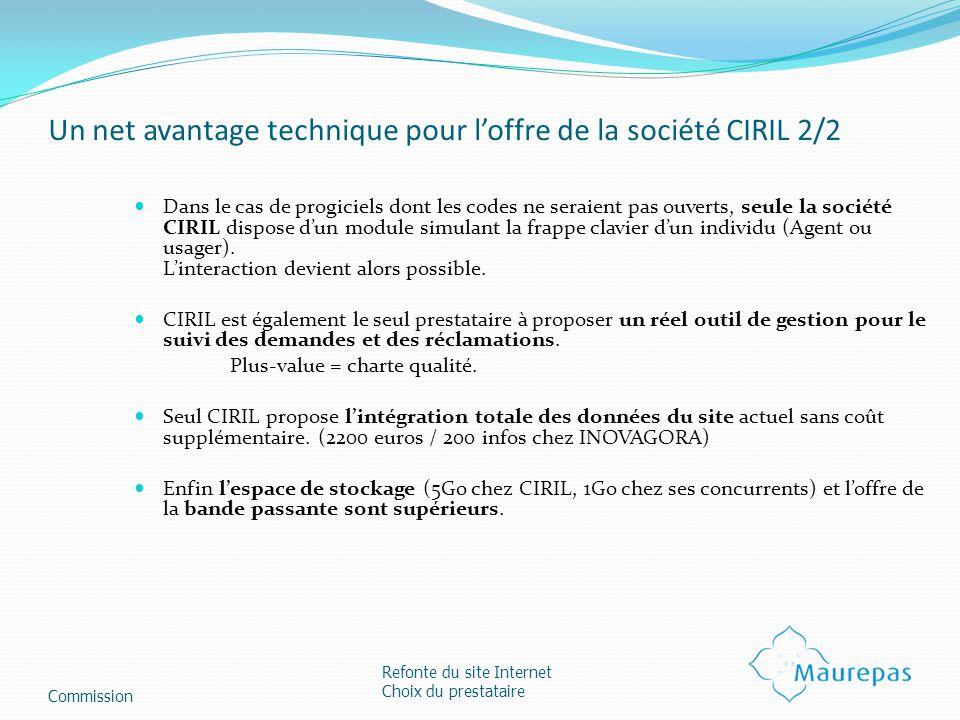Un net avantage technique pour loffre de la société CIRIL 2/2 Dans le cas de progiciels dont les codes ne seraient pas ouverts, seule la société CIRIL