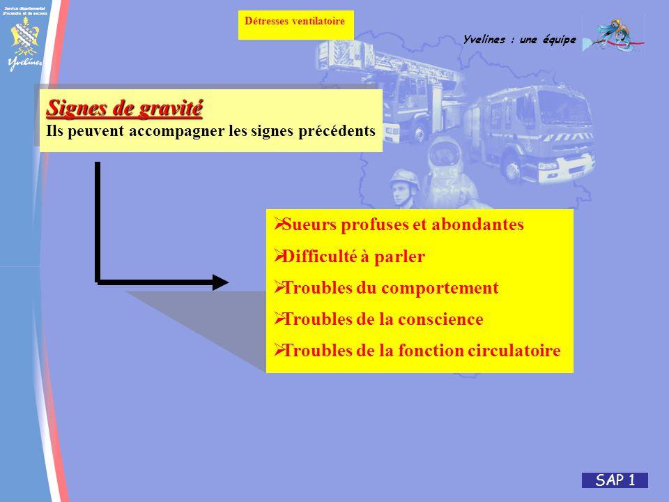 Service départemental d'incendie et de secours Yvelines : une équipe SAP 1 Détresses ventilatoire Signes de gravité Ils peuvent accompagner les signes