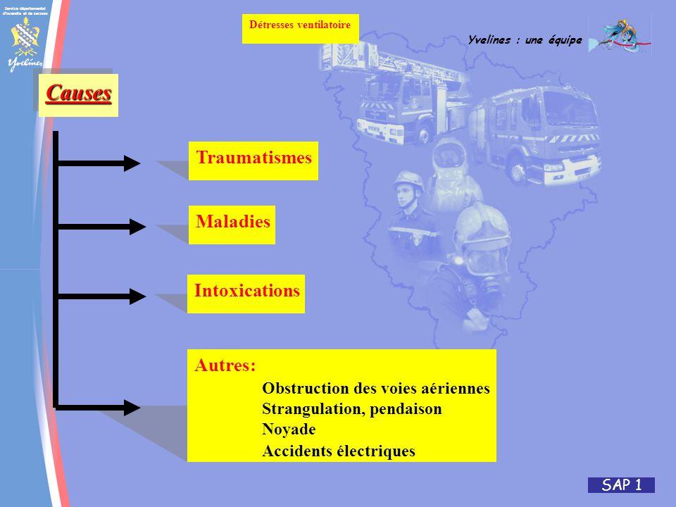 Service départemental d incendie et de secours Yvelines : une équipe SAP 1 Détresses ventilatoire CausesCauses Traumatismes Maladies Intoxications Autres: Obstruction des voies aériennes Strangulation, pendaison Noyade Accidents électriques