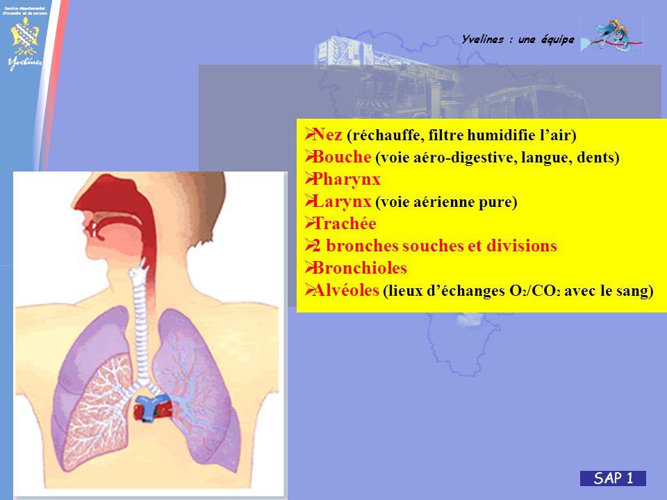 Service départemental d'incendie et de secours Yvelines : une équipe SAP 1 Nez (réchauffe, filtre humidifie lair) Bouche (voie aéro-digestive, langue,