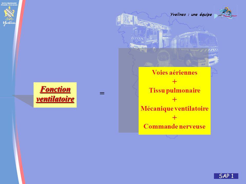 Service départemental d incendie et de secours Yvelines : une équipe SAP 1 Fonctionventilatoire Voies aériennes + Tissu pulmonaire + Mécanique ventilatoire + Commande nerveuse =