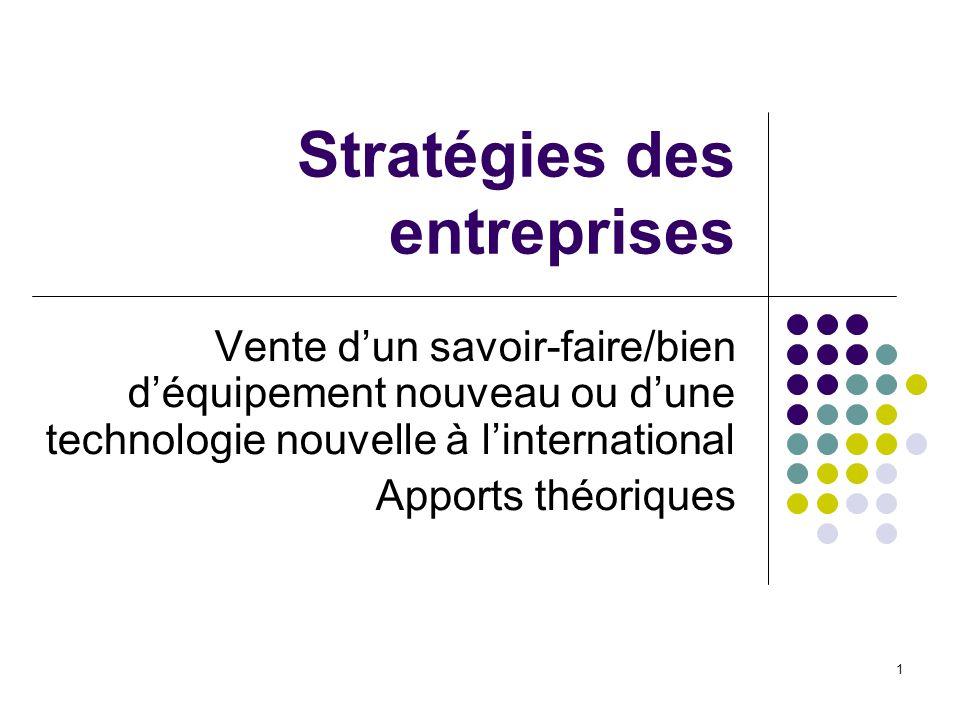 1 Stratégies des entreprises Vente dun savoir-faire/bien déquipement nouveau ou dune technologie nouvelle à linternational Apports théoriques
