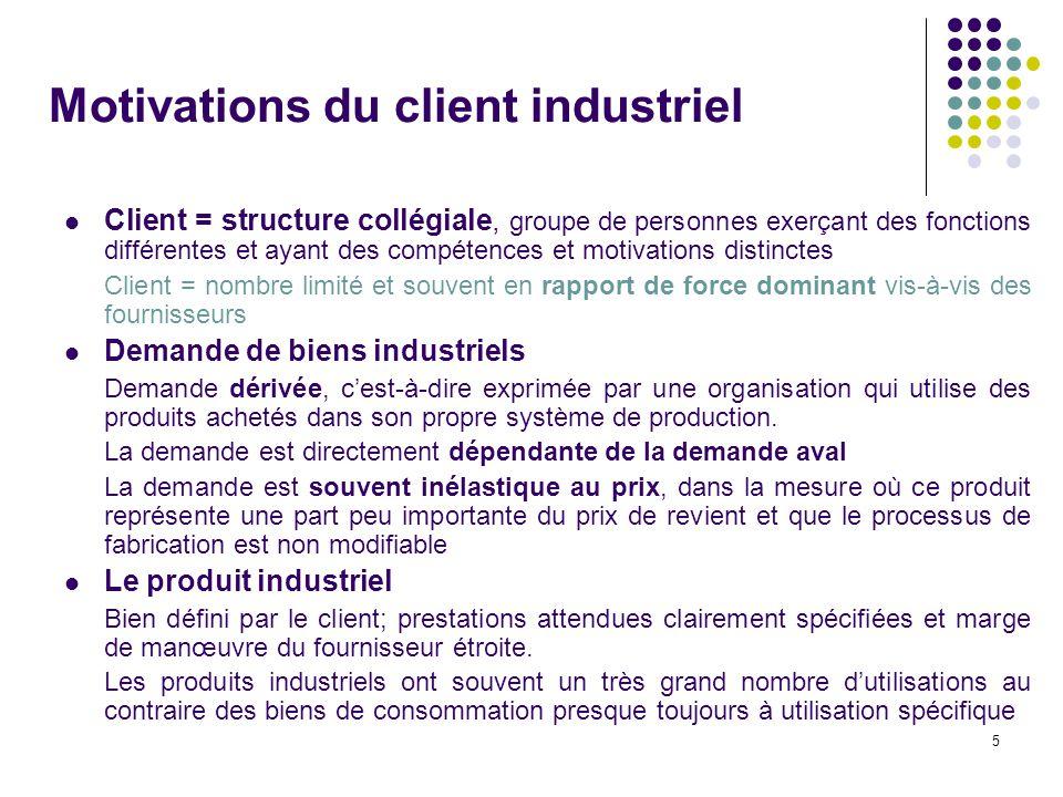 5 Motivations du client industriel Client = structure collégiale, groupe de personnes exerçant des fonctions différentes et ayant des compétences et m