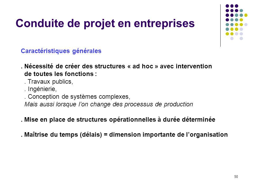 50 Conduite de projet en entreprises Caractéristiques générales. Nécessité de créer des structures « ad hoc » avec intervention de toutes les fonction
