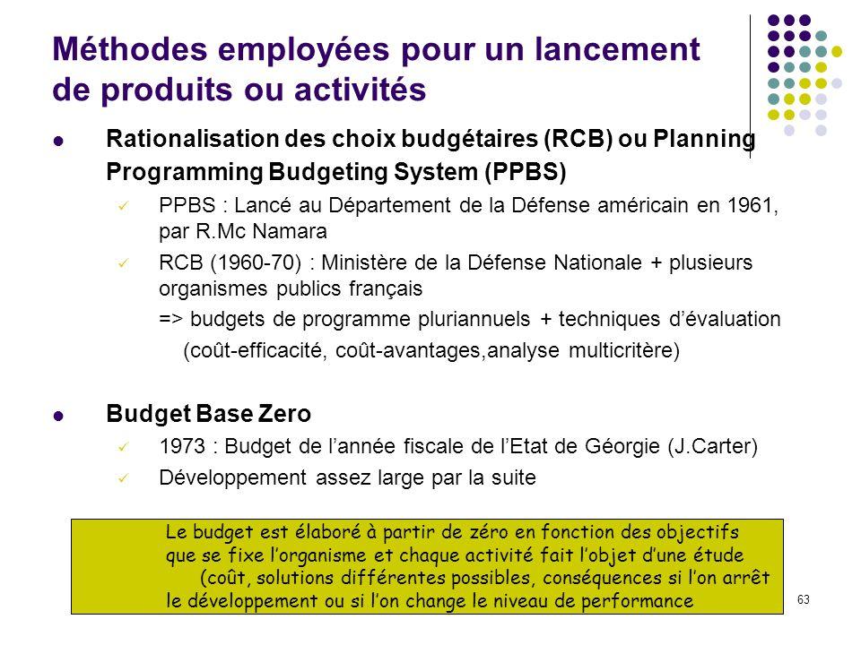 63 Le budget est élaboré à partir de zéro en fonction des objectifs que se fixe lorganisme et chaque activité fait lobjet dune étude (coût, solutions
