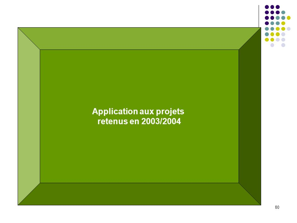 80 Application aux projets retenus en 2003/2004