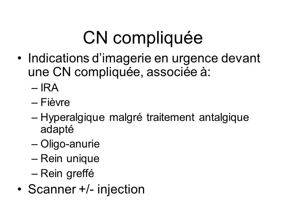 CN compliquée Indications dimagerie en urgence devant une CN compliquée, associée à: –IRA –Fièvre –Hyperalgique malgré traitement antalgique adapté –O