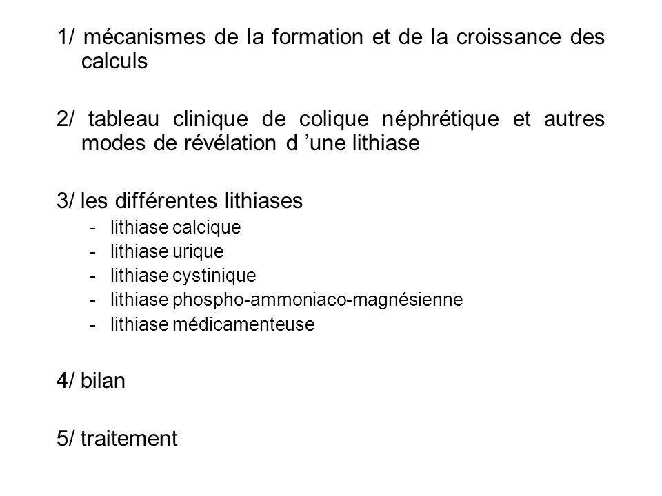 1/ mécanismes de la formation et de la croissance des calculs 2/ tableau clinique de colique néphrétique et autres modes de révélation d une lithiase