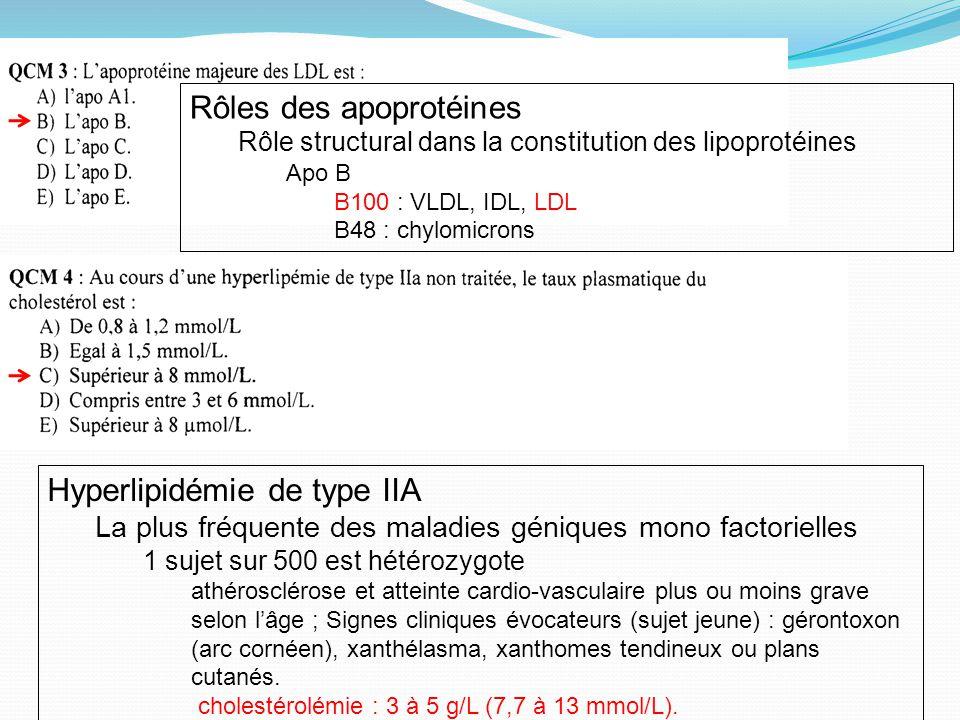 Rôles des apoprotéines Rôle structural dans la constitution des lipoprotéines Apo B B100 : VLDL, IDL, LDL B48 : chylomicrons Hyperlipidémie de type IIA La plus fréquente des maladies géniques mono factorielles 1 sujet sur 500 est hétérozygote athérosclérose et atteinte cardio-vasculaire plus ou moins grave selon lâge ; Signes cliniques évocateurs (sujet jeune) : gérontoxon (arc cornéen), xanthélasma, xanthomes tendineux ou plans cutanés.