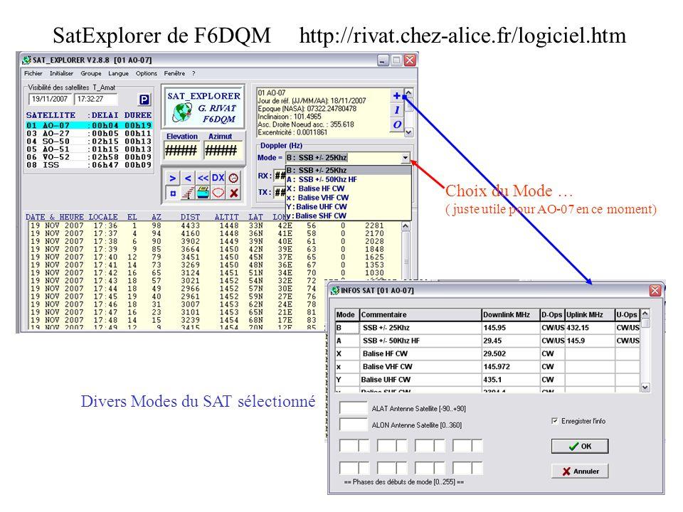 SatExplorer de F6DQM http://rivat.chez-alice.fr/logiciel.htm Divers Modes du SAT sélectionné Choix du Mode … ( juste utile pour AO-07 en ce moment)
