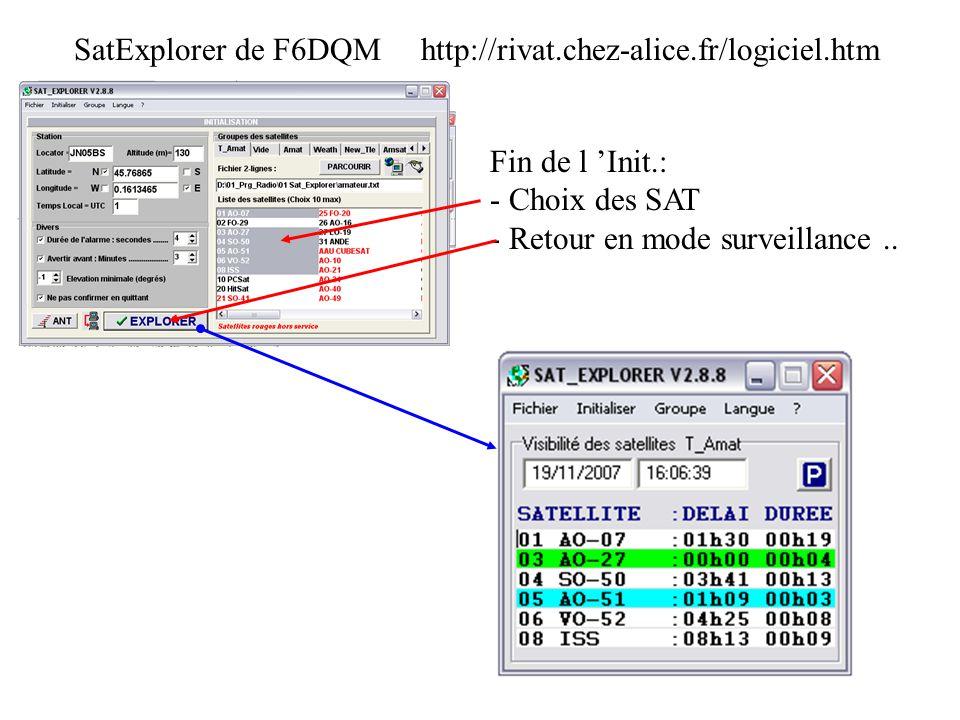 SatExplorer de F6DQM http://rivat.chez-alice.fr/logiciel.htm Fin de l Init.: - Choix des SAT - Retour en mode surveillance..