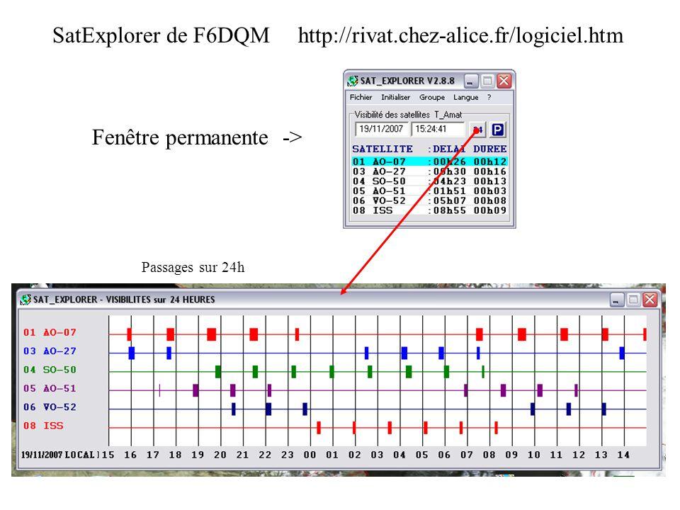 SatExplorer de F6DQM http://rivat.chez-alice.fr/logiciel.htm Fenêtre permanente -> Passages sur 24h