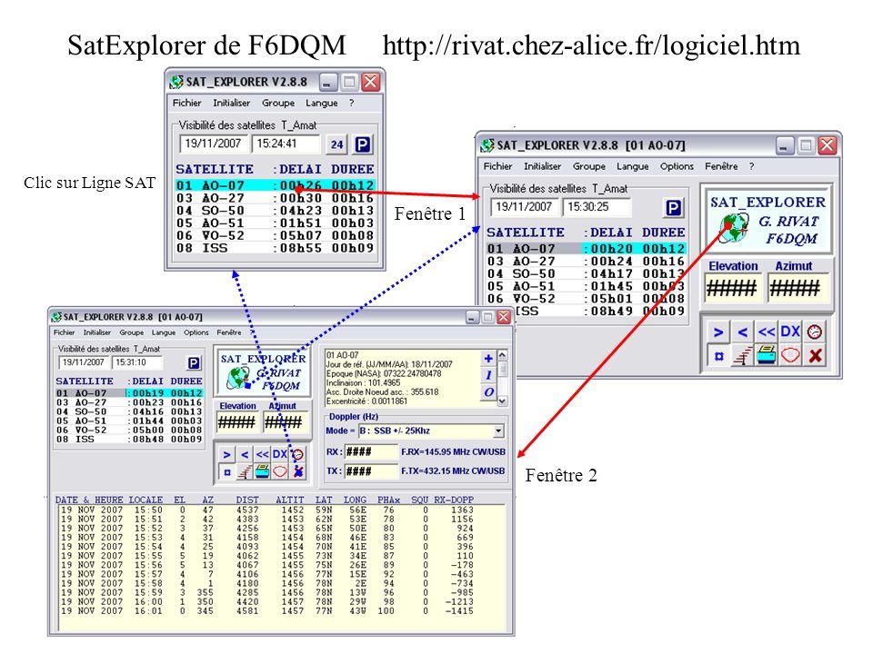 SatExplorer de F6DQM http://rivat.chez-alice.fr/logiciel.htm Clic sur Ligne SAT Fenêtre 1 Fenêtre 2