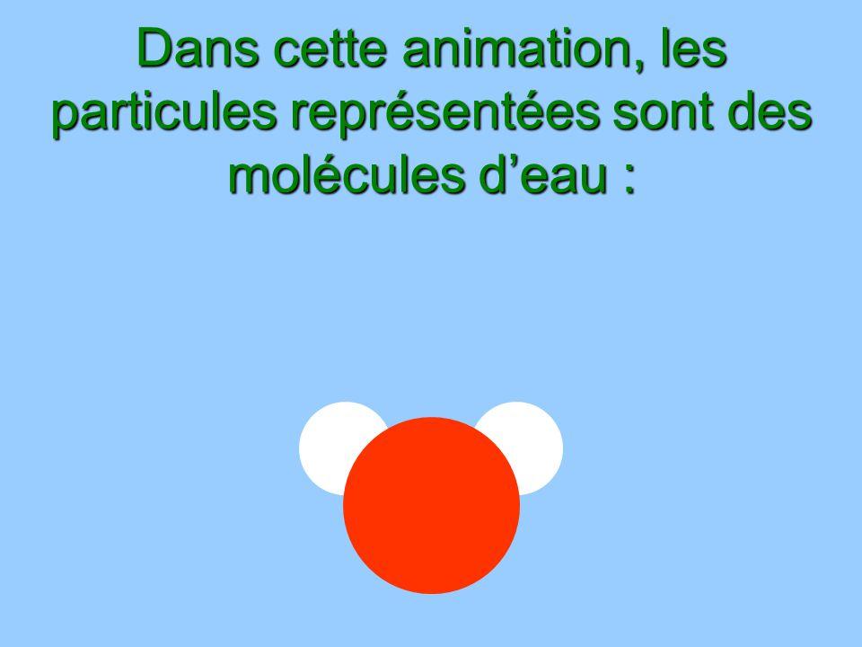 Dans cette animation, les particules représentées sont des molécules deau :
