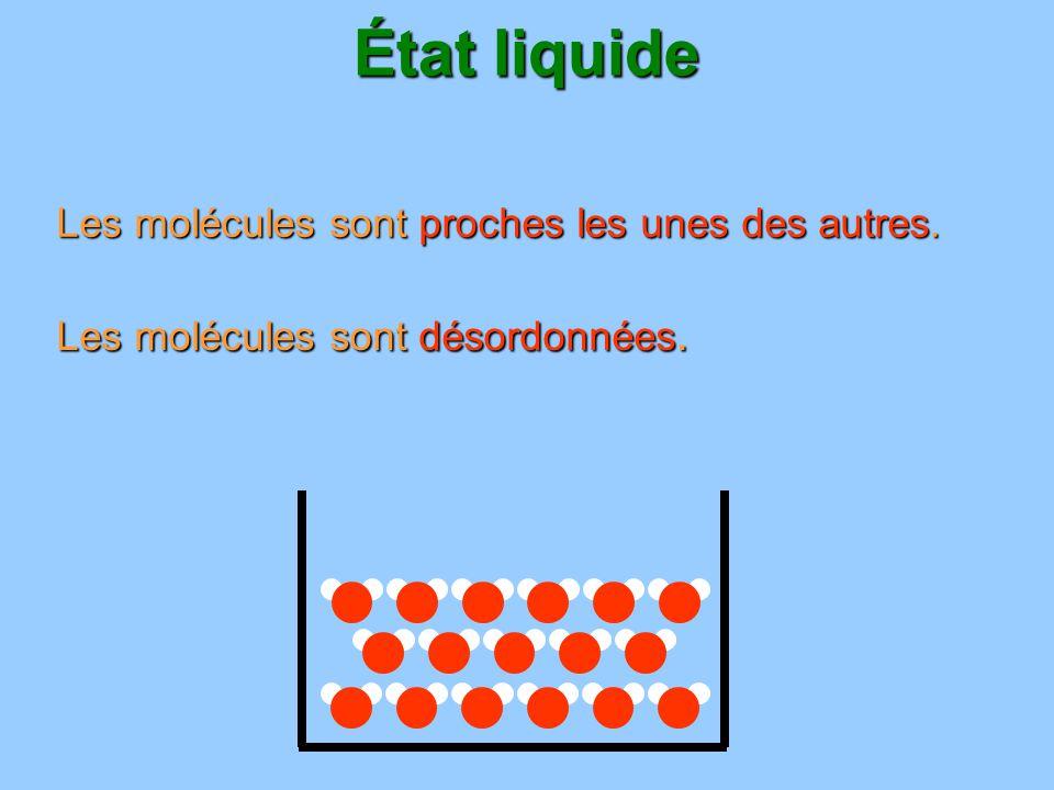 État liquide Les molécules sont proches les unes des autres. Les molécules sont désordonnées.