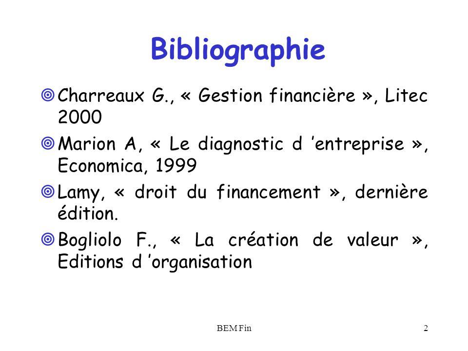BEM Fin3 Site Internet www.sfaf.com; www.les-echos.fr; www.agefinance.com; www.afte.com;www.banque-france.fr; www.cdc-marches.fr; www.standardandpoors.fr www.ecb.int; www.cades.fr; www.arese-sa.com www.francetresor.gouv.fr; www.finances.gouv.fr;