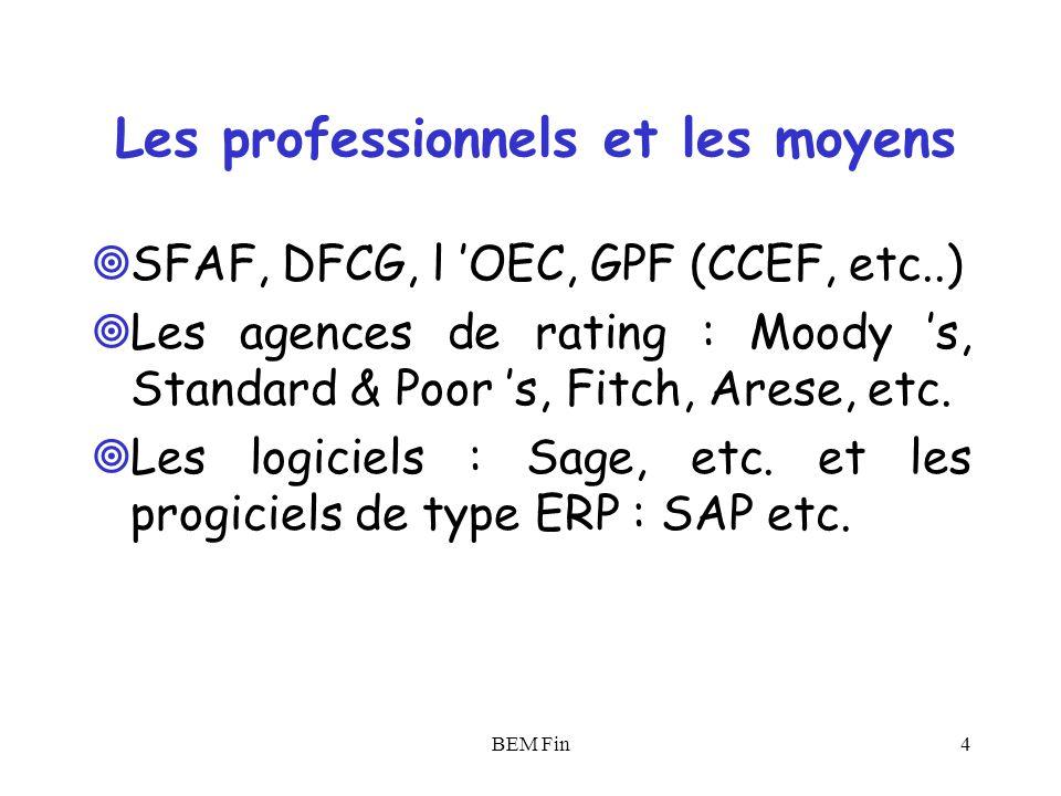 BEM Fin5 Introduction Analyse financière : Pour quoi .