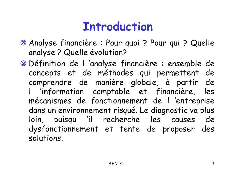 BEM Fin6 Introduction La logique de la création de valeur : entre modalités et finalité Critiques des méthodes existantes (statiques versus dynamiques) en s appuyant sur une conception moderne (couple risque/rentabilité).