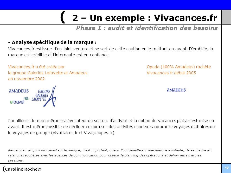 12 - Analyse spécifique de la marque : Vivacances.fr est issue dun joint venture et se sert de cette caution en le mettant en avant. Demblée, la marqu