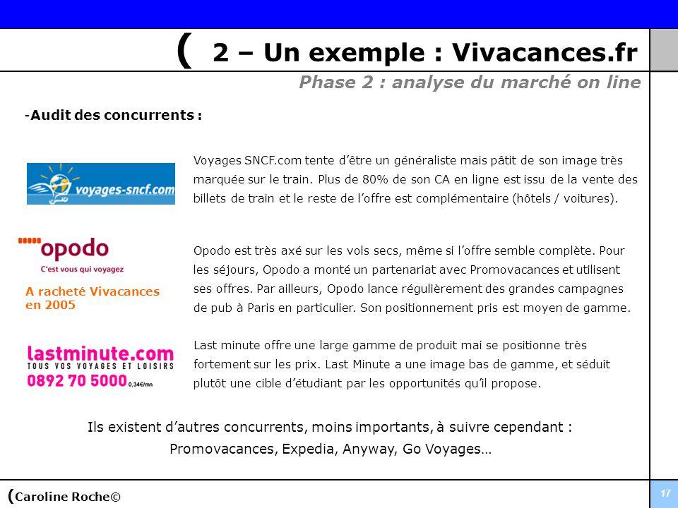 17 -Audit des concurrents : Phase 2 : analyse du marché on line ( Caroline Roche© ( 2 – Un exemple : Vivacances.fr Opodo est très axé sur les vols sec