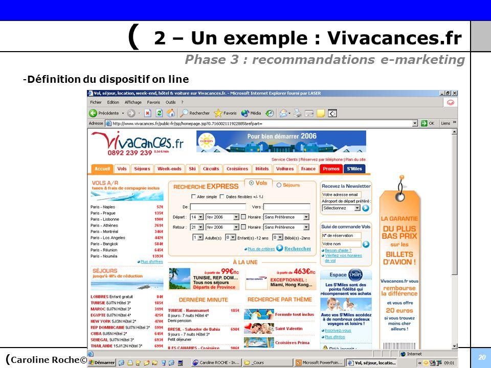 20 Phase 3 : recommandations e-marketing -Définition du dispositif on line ( Caroline Roche© ( 2 – Un exemple : Vivacances.fr