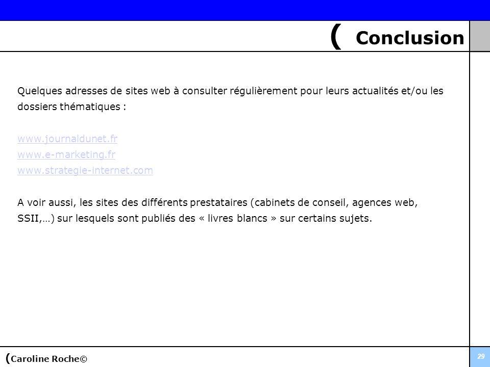 ( Conclusion 29 Quelques adresses de sites web à consulter régulièrement pour leurs actualités et/ou les dossiers thématiques : www.journaldunet.fr ww