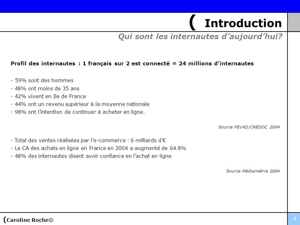 4 ( Introduction Profil des internautes : 1 français sur 2 est connecté = 24 millions dinternautes - 59% sont des hommes - 48% ont moins de 35 ans - 4