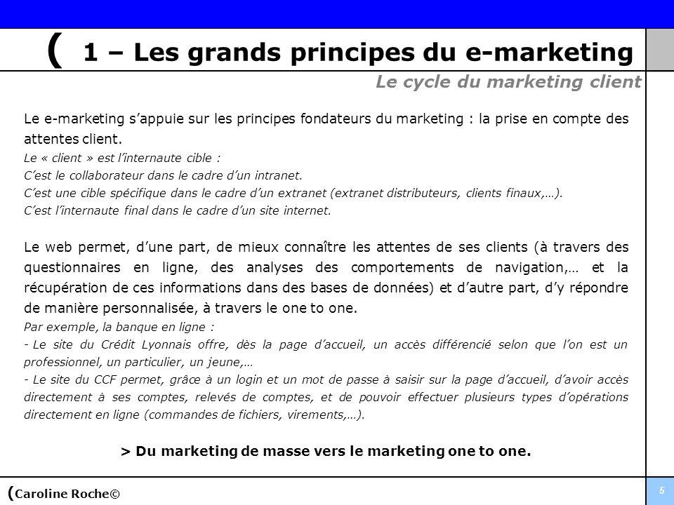 5 Le e-marketing sappuie sur les principes fondateurs du marketing : la prise en compte des attentes client. Le « client » est linternaute cible : Ces