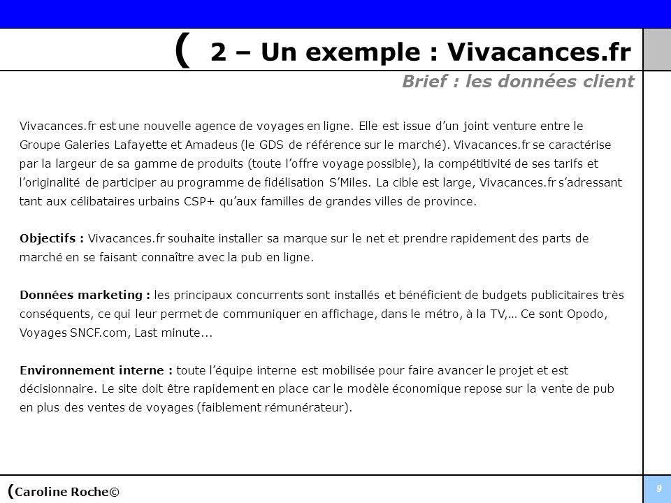 9 ( 2 – Un exemple : Vivacances.fr Brief : les données client Vivacances.fr est une nouvelle agence de voyages en ligne. Elle est issue dun joint vent