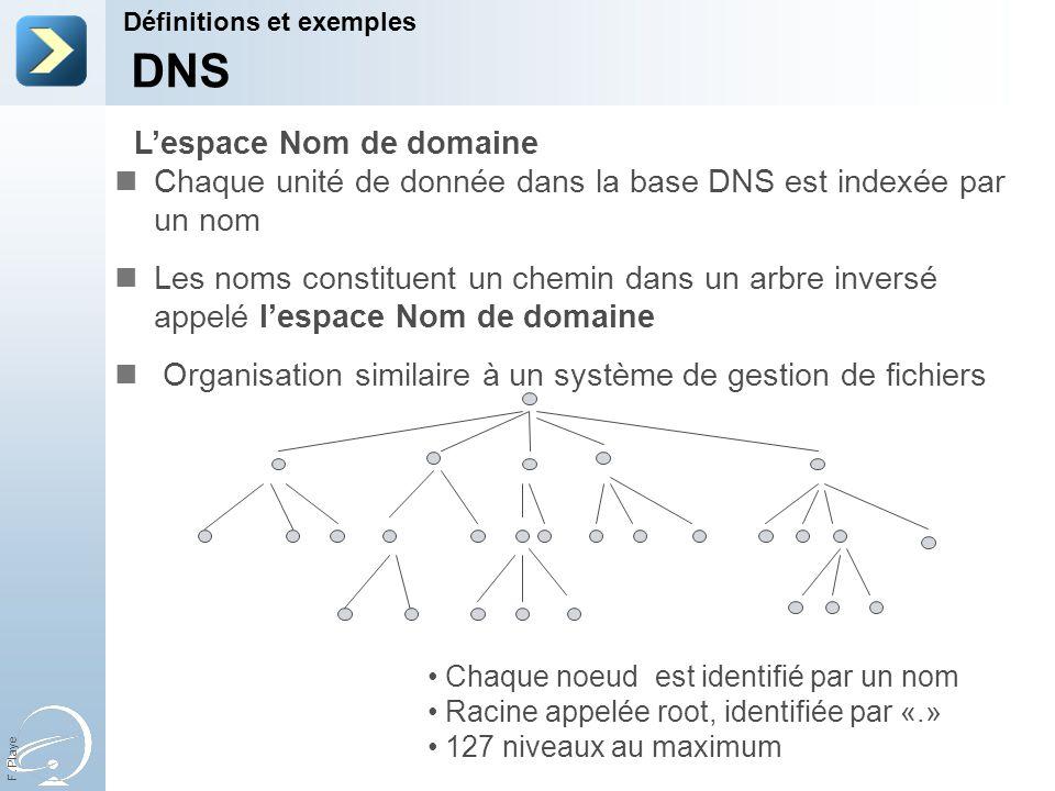 F. Playe Chaque unité de donnée dans la base DNS est indexée par un nom Les noms constituent un chemin dans un arbre inversé appelé lespace Nom de dom
