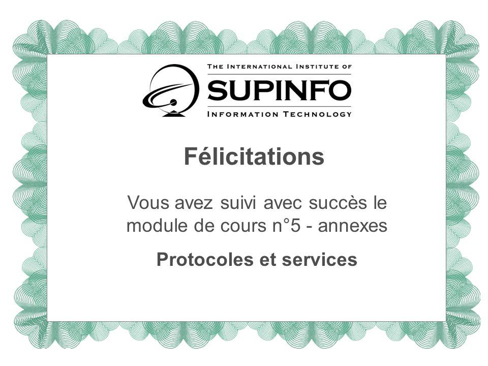 Félicitations Vous avez suivi avec succès le module de cours n°5 - annexes Protocoles et services