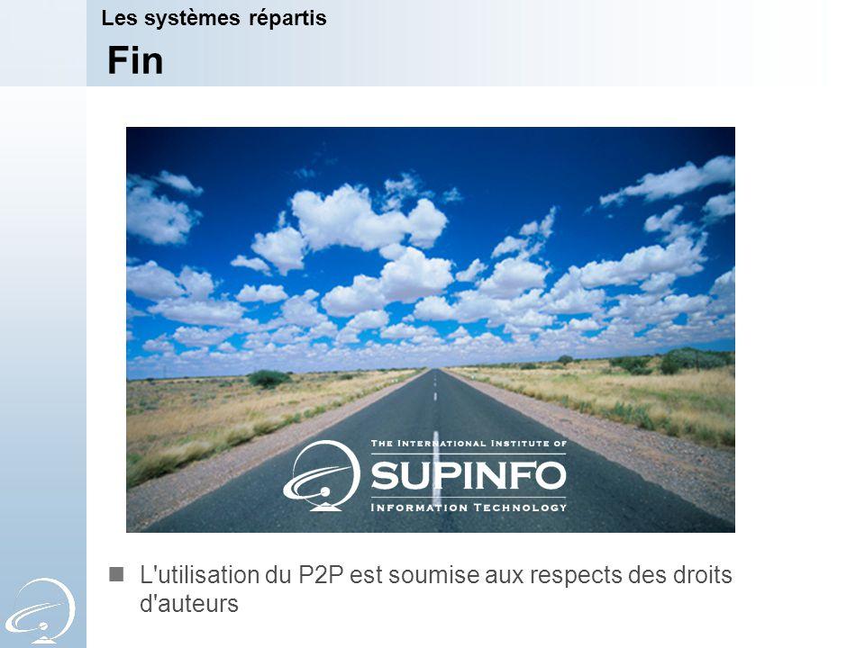 Fin L'utilisation du P2P est soumise aux respects des droits d'auteurs Les systèmes répartis