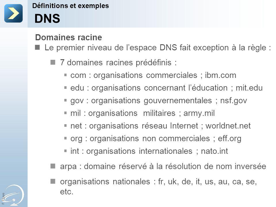 F. Playe Le premier niveau de lespace DNS fait exception à la règle : 7 domaines racines prédéfinis : com : organisations commerciales ; ibm.com edu :