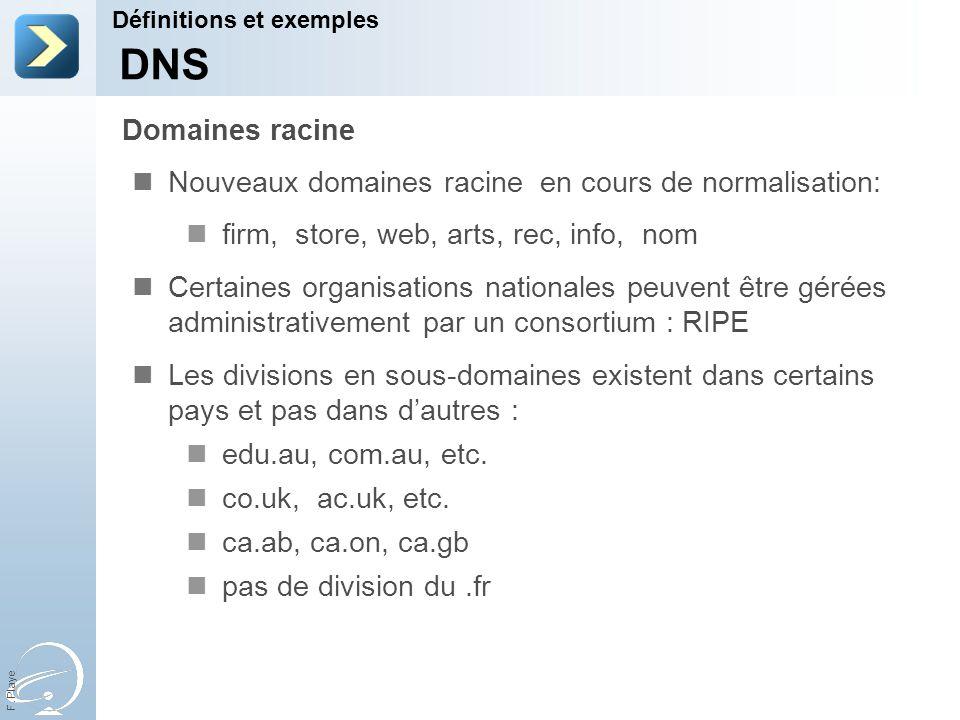 F. Playe Nouveaux domaines racine en cours de normalisation: firm, store, web, arts, rec, info, nom Certaines organisations nationales peuvent être gé