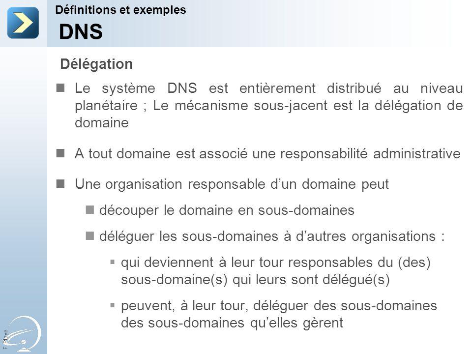F. Playe Le système DNS est entièrement distribué au niveau planétaire ; Le mécanisme sous-jacent est la délégation de domaine A tout domaine est asso